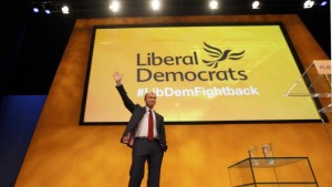 Britain's Liberal Democrat party leader, Tim Farron, waves after making his keynote speech on the final day of the party's conference in Bournemouth, Britain September 23, 2015. REUTERS/Peter Nicholls
